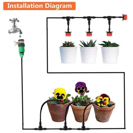 Drip Irrigation System, Automatic Watering with Adjustable Drippers 19.5 - 4